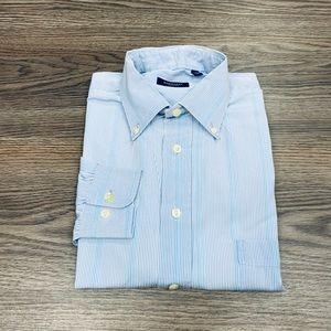 Burberry Blue, White & Yellow Stripe Shirt M